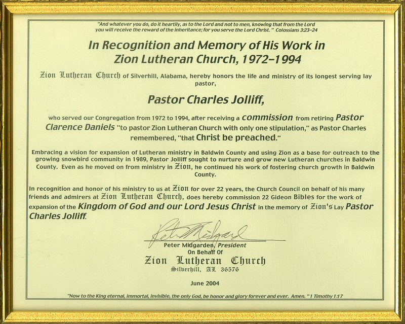 Sample certificate of appreciation for pastors choice image certificate of appreciation wording for guest speakers image zion lutheran church pastor charles jolliff in recognition yelopaper Choice Image